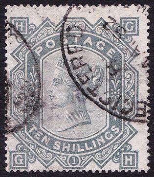 SG 128 10/- Greenish-Grey (GH) FU