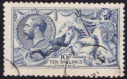 SG 413 10/- Pale Blue Seahorse