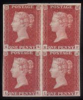 SG 3 Spec AS69 1d Red Plate 10 Block of 4 (KE,KF,LE,LF) Mint Large Part OG SG CAT £16,500