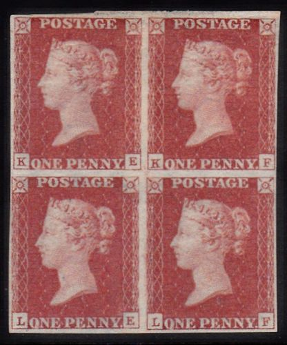 SG 3 Spec AS69 1d Red Plate 10 Block of 4 (KE,KF,LE,LF) Mint Large Part OG SG CAT £16,500