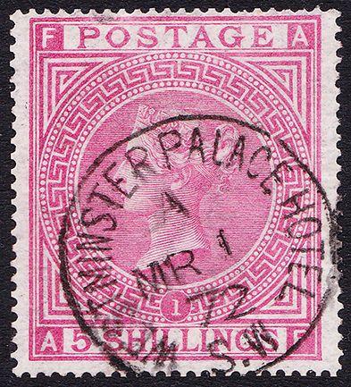 SG 126 5/- Rose Plate 1 (AF) VFU