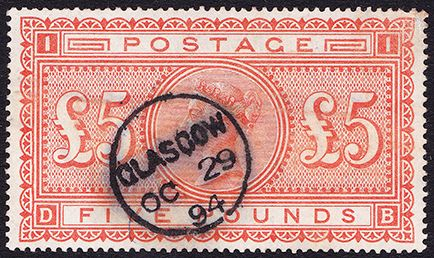 SG 137 £5 Orange (DB) VFU